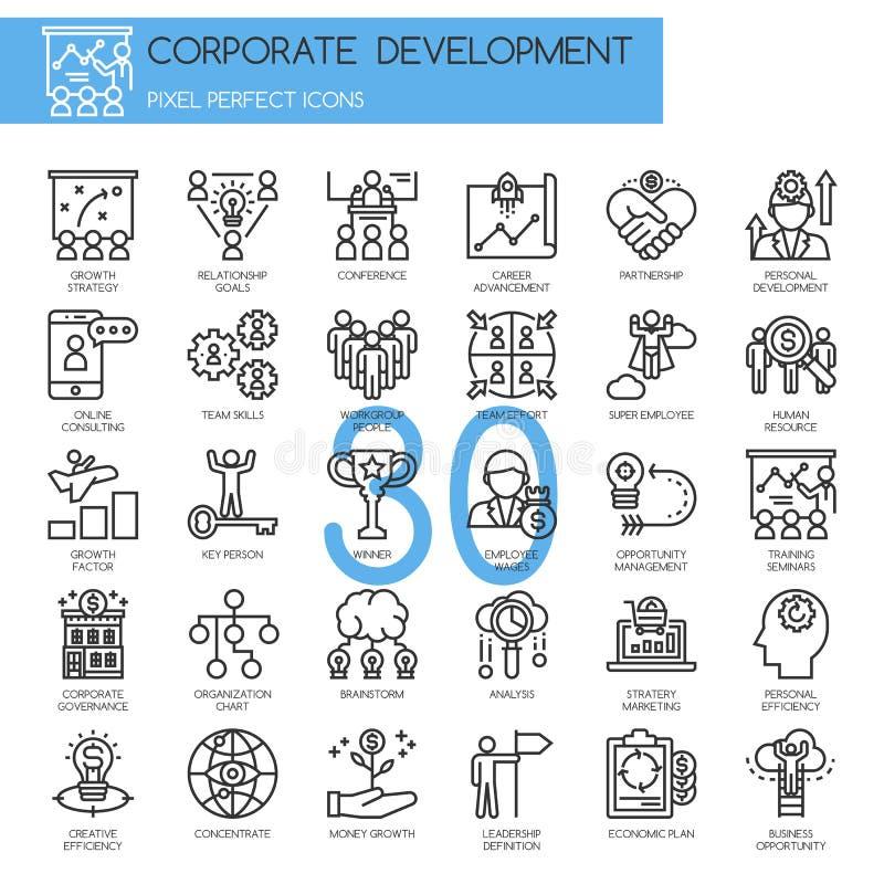 Korporacyjny rozwój, cienieje kreskowe ikony ustawiać royalty ilustracja