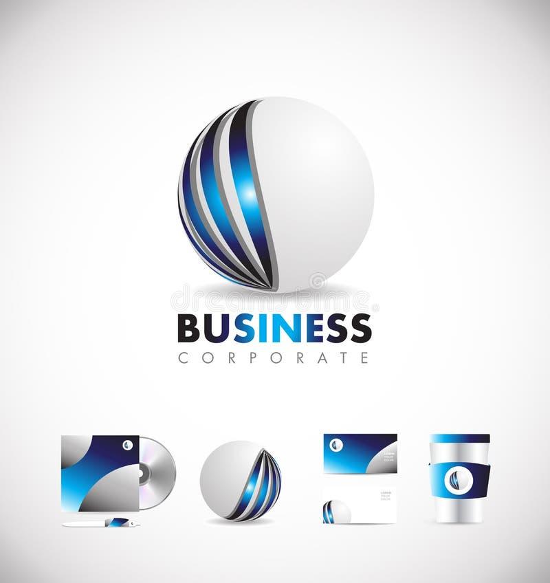 Korporacyjny sfery 3d loga ikony błękitny projekt royalty ilustracja
