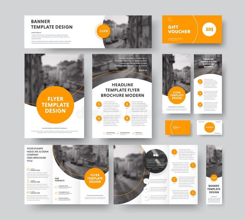 Korporacyjny styl z round i półcyrkłowymi pomarańczowymi projektów elemen royalty ilustracja