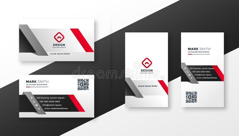 Korporacyjny wizytówka projekta szablon w czerwonych ang szarość barwi ilustracji