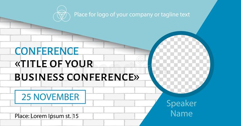 Korporacyjny zawiadomienia facebook sztandar Wektorowy ulotka szablon dla biznesowej konferencji ilustracja wektor