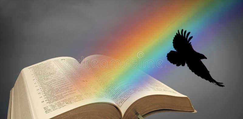 Korpsvart öppen bibel för Noah regnbåge stock illustrationer