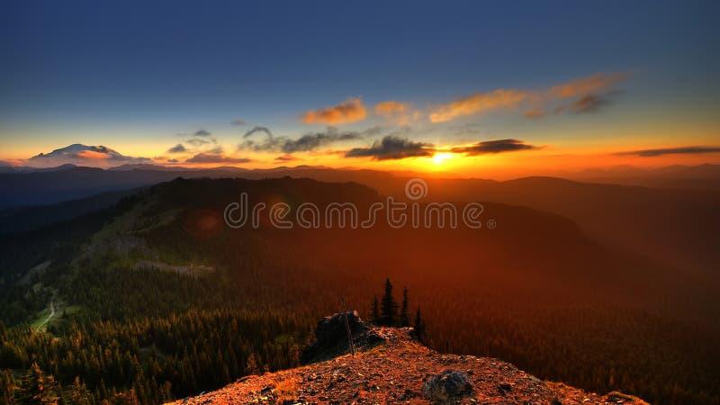 korpsvart solnedgång för roost s arkivbild
