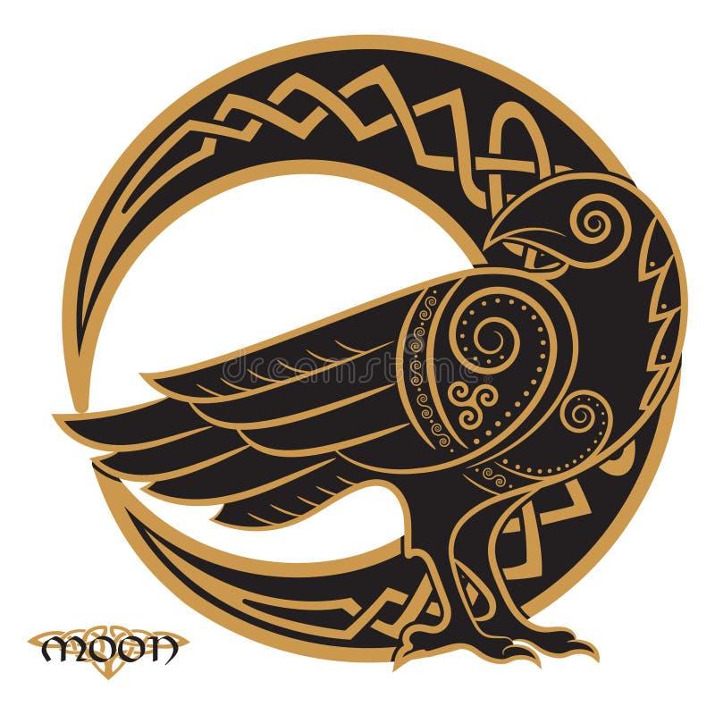 Korpsvart som hand-dras i keltisk stil, på bakgrunden av den keltiska måneprydnaden stock illustrationer