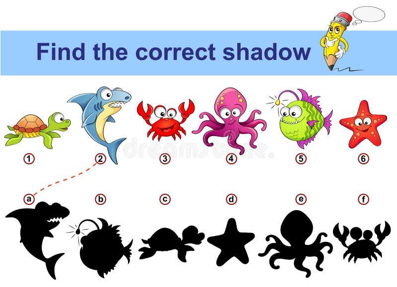 Korrekt skugga för fynd Lurar den bildande leken Havsdjur Sköldpadda haj, krabba, bläckfisk, monkfish, sjöstjärna royaltyfri illustrationer