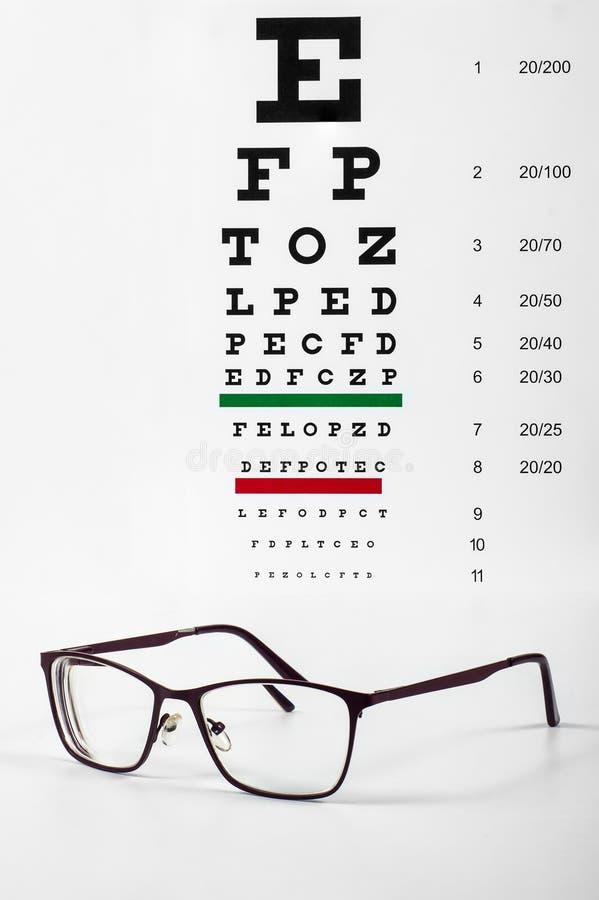 Korrektive Gläser und Snellen-Diagramm lizenzfreie stockbilder