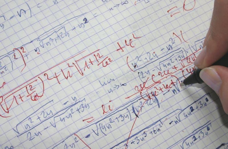 Korrektur von Mathe stockfoto