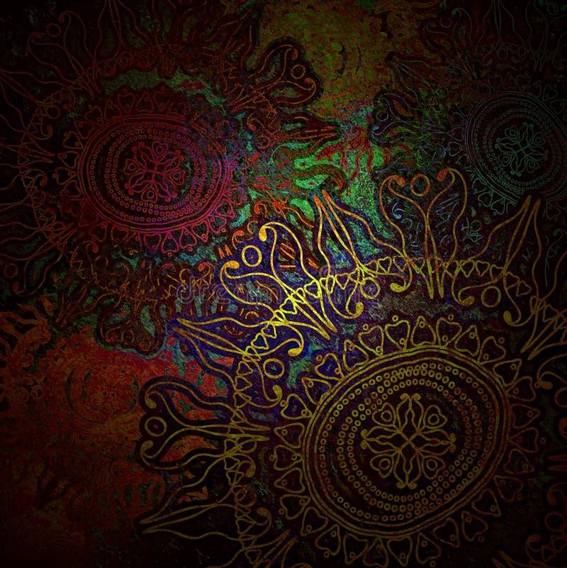 Korrelig, bloemenornament op gekleurde achtergrond royalty-vrije illustratie