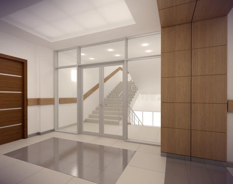 Korridor der Wiedergabe 3D von ofice Gebäude lizenzfreie abbildung
