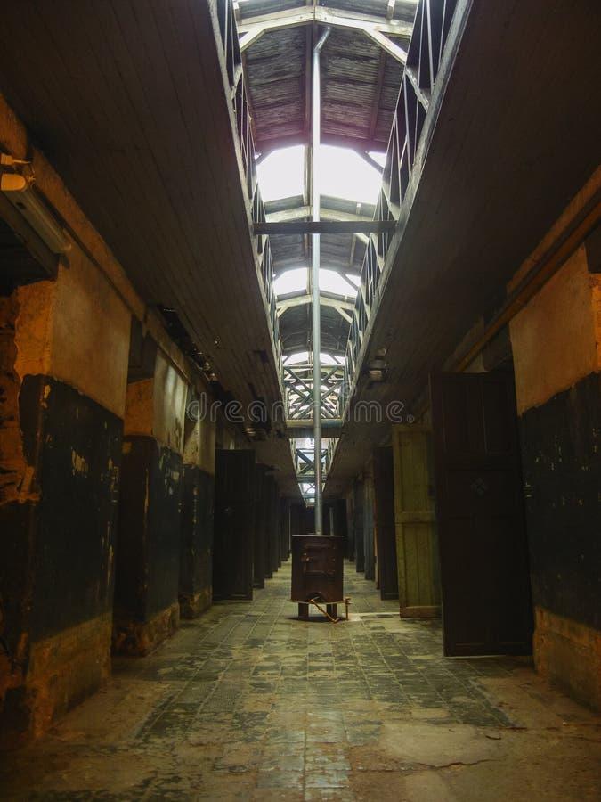 Korridor i ett fängelse som lokaliseras i ushuaiapatagonia Argentina royaltyfri foto