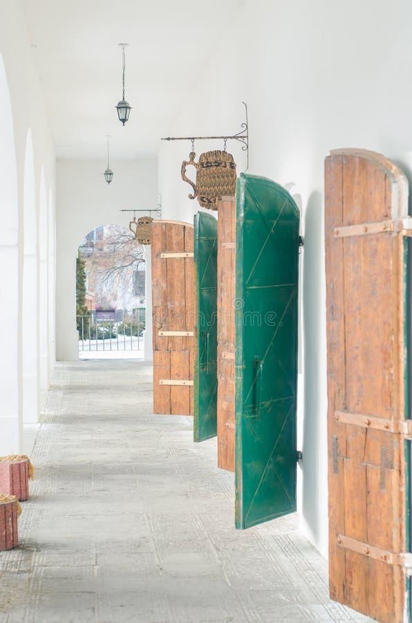 Korridor med båge-, järn- och trädörrar royaltyfri fotografi