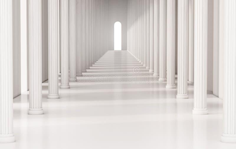 Korridor med roman pelare och ljust ljus på utgången, framförd 3d royaltyfri illustrationer