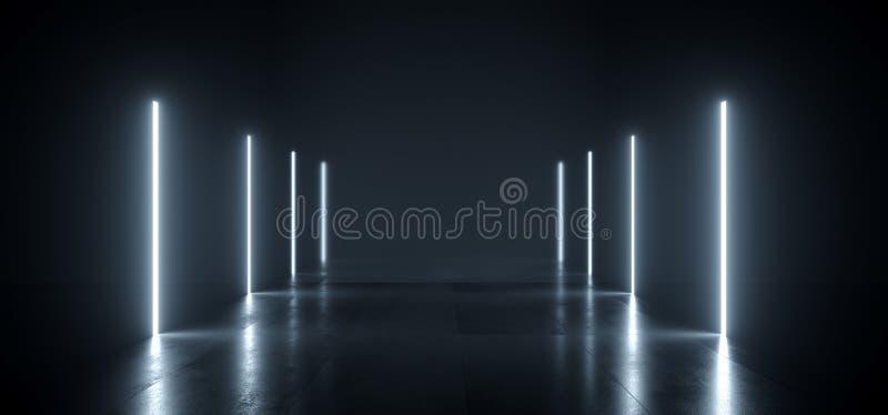 Korridor Stargate för tunnel för hall för mörkt rum för utrymme för lodlinje för laserstrålar för Sci FI neonljus futuristisk pur royaltyfri illustrationer