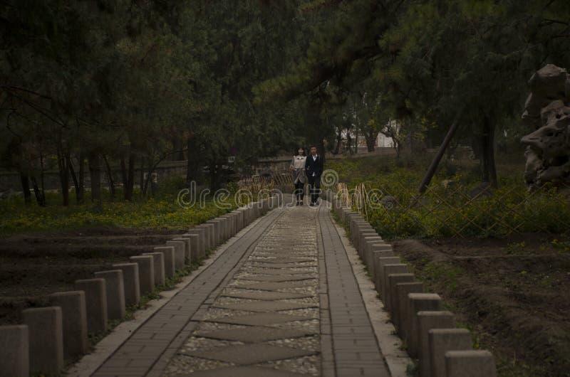 Korridor in xiangshan Peking China lizenzfreie stockbilder