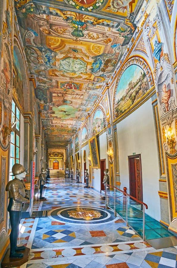 Korridoren av slotten för Grandmastr ` s, Valletta, Malta royaltyfria foton