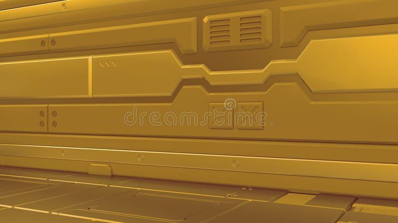 Korridorer för rymdskepp för science fiction för vetenskapsbakgrundsfiktion inre framförande, illustration 3D royaltyfri illustrationer