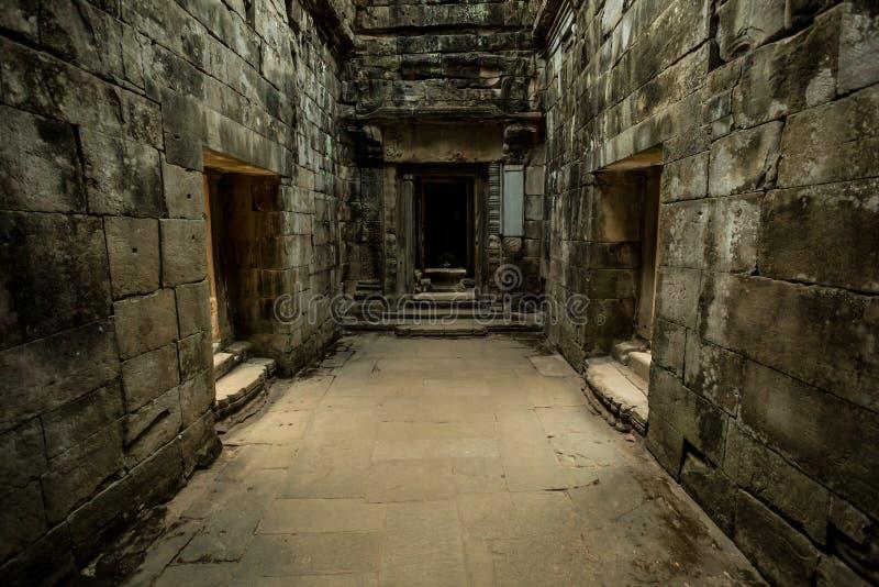 Korridorer för Ta Prohm royaltyfria bilder