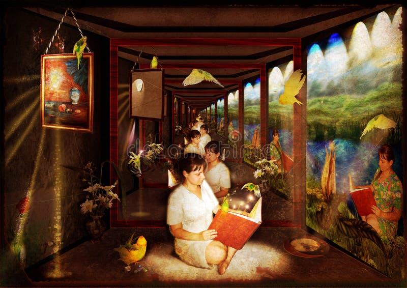 korridorspegel stock illustrationer