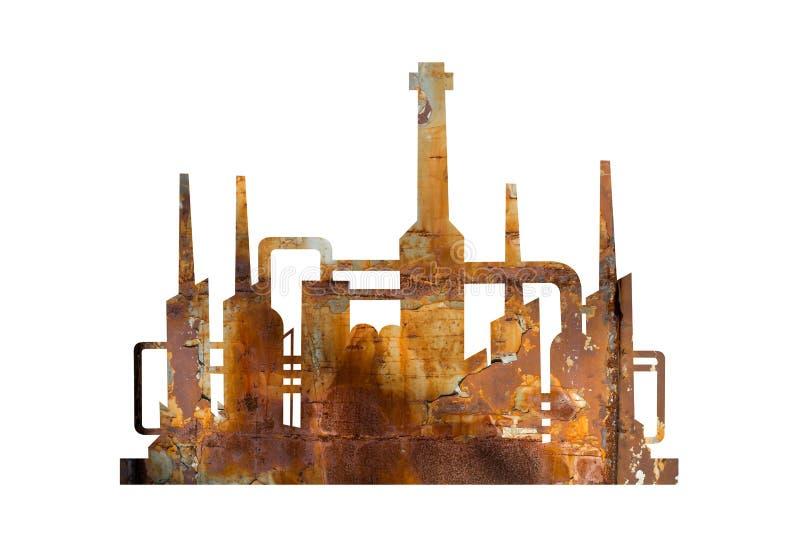 Korrodierte und rostige Anlage der alten gealterten Fabrik - lizenzfreie abbildung