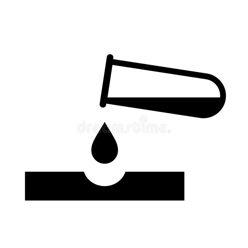 Korrosiv pictogram för farakemikalievektor stock illustrationer