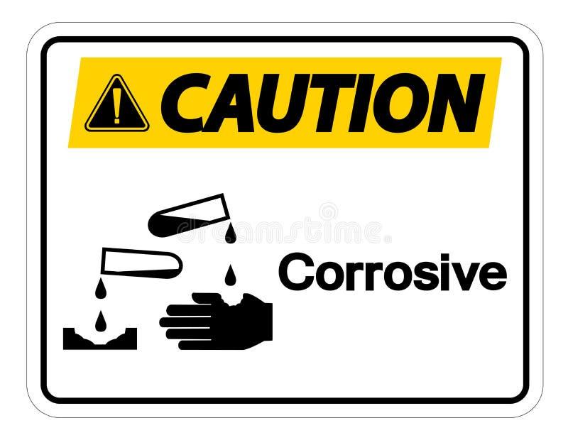 Korrosivt symboltecken för varning på vit bakgrund vektor illustrationer