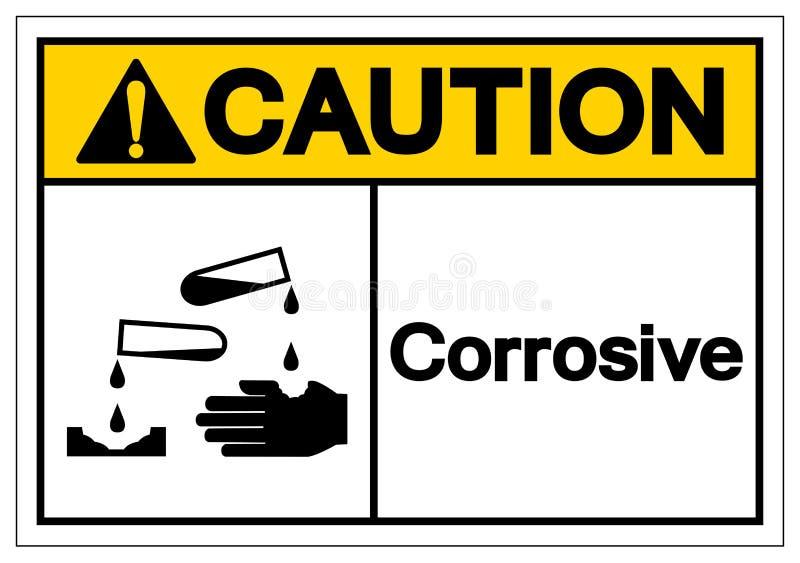Korrosivt symboltecken för varning, vektorillustration, isolat på den vita bakgrundsetiketten EPS10 vektor illustrationer