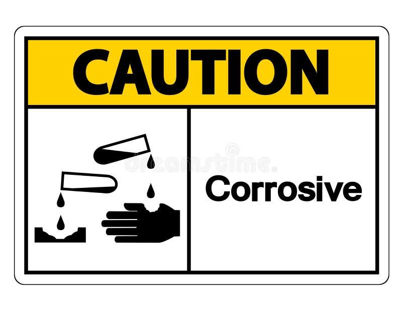 Korrosivt symboltecken f?r varning p? vit bakgrund royaltyfri illustrationer