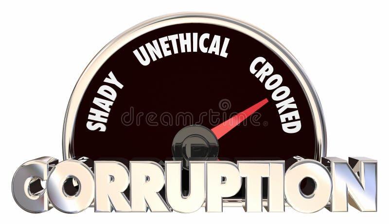 Korruption böjd orättvis uppförandemåtthastighetsmätare stock illustrationer