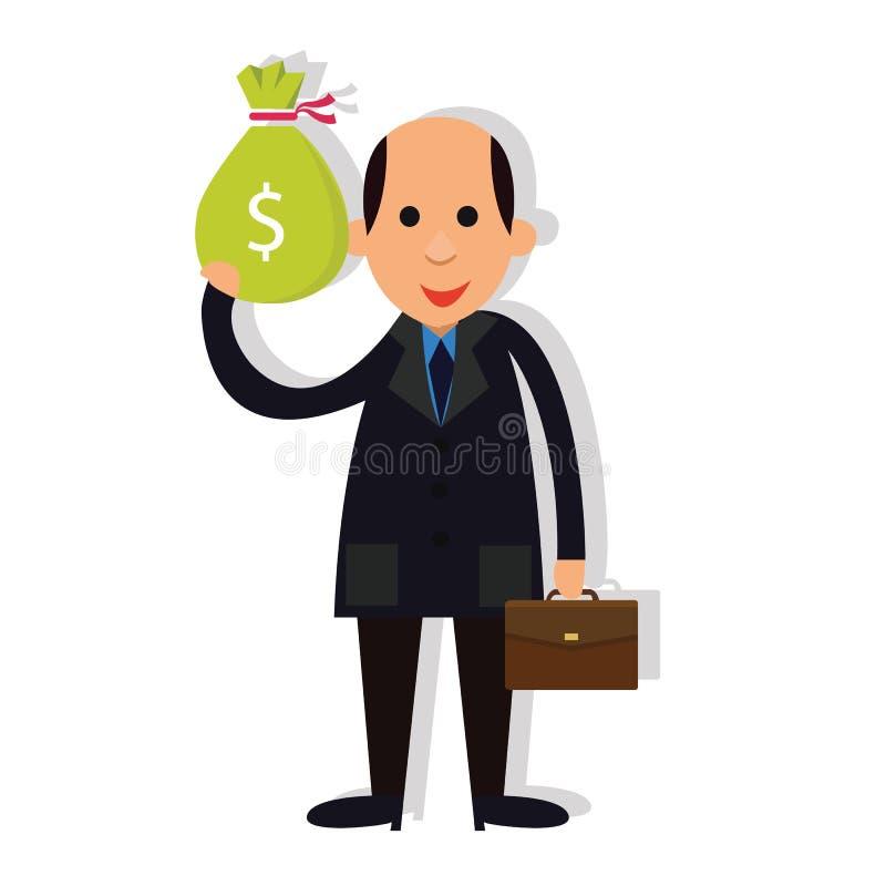 Korruption för skalliga hållande pengar för manaffärsman korrumperad stock illustrationer