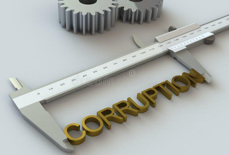 KORRUPTION meddelande på nonieskalaklämman stock illustrationer