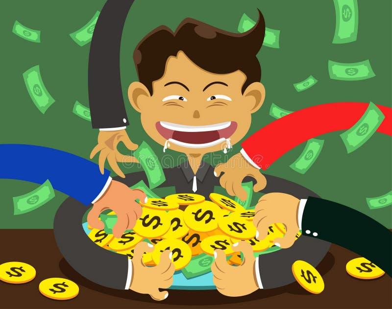 Korruption och man stock illustrationer