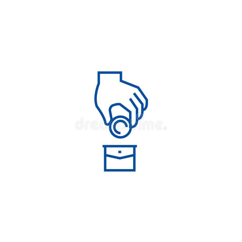 Korruption pengar i facket, donationlinje symbolsbegrepp Korruption pengar i facket, plant vektorsymbol för donation, tecken royaltyfri illustrationer