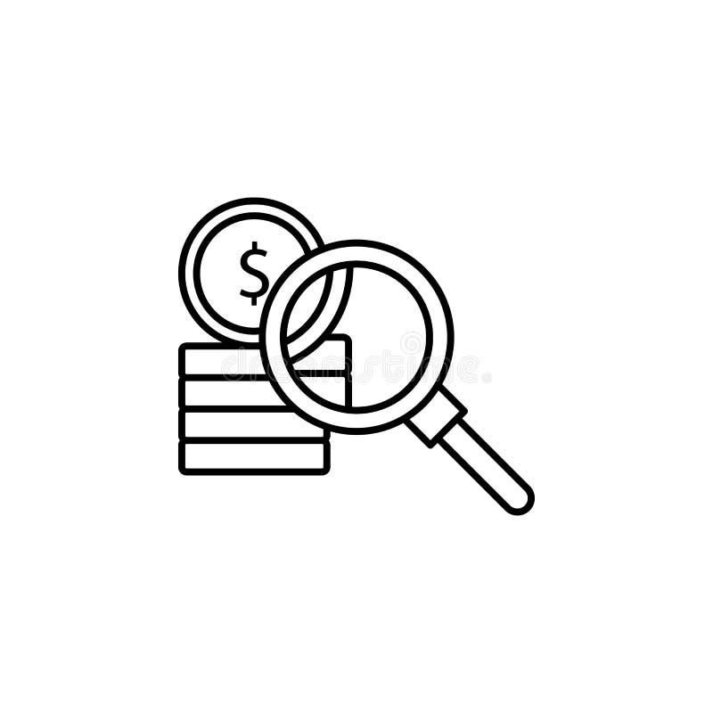 Korruption pengar som söker symbolen Beståndsdel av lag- och rättvisasymbolen Tunn linje symbol för websitedesignen och utvecklin vektor illustrationer