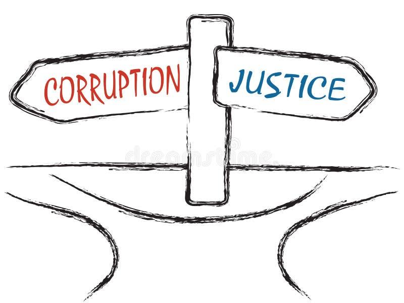 Korruption und Gerechtigkeit vektor abbildung