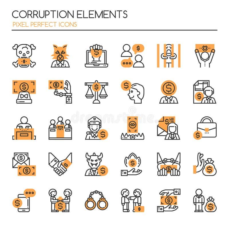 Korruptionbeståndsdelar stock illustrationer