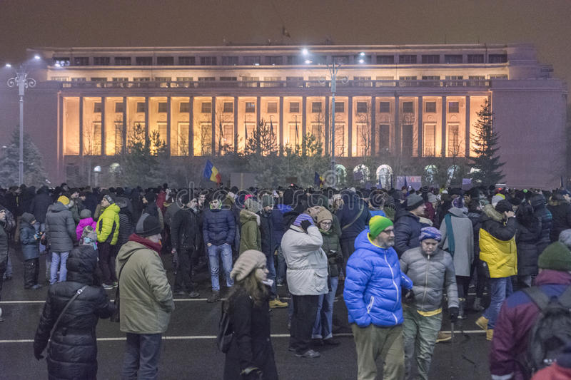 Korruptionsbekämpfungs- Proteste in Bukarest am 22. Januar 2017 stockfotografie