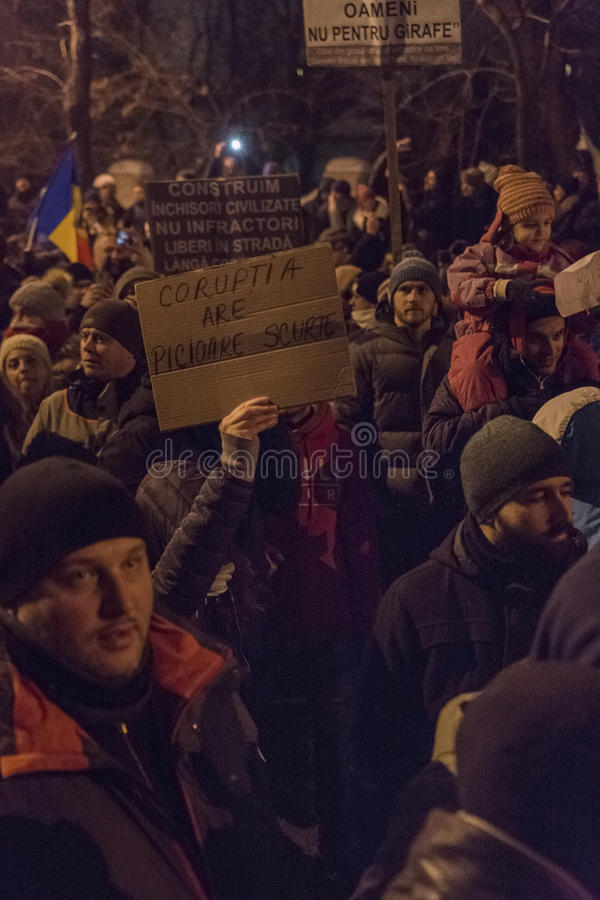 Korruptionsbekämpfungs- Proteste in Bukarest am 22. Januar 2017 lizenzfreie stockbilder