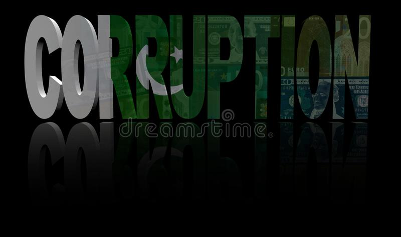 Korruptiontext med den Pakistan flaggan och valutaillustrationen vektor illustrationer