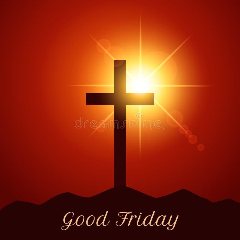 Kors av Jesus Christ på monteringscalvaryen Modern illustration av ett baner av lidande och uppståndelse av Jesus målat gräs för  royaltyfri illustrationer