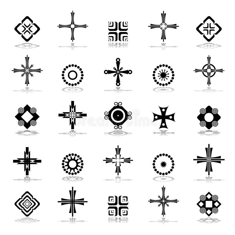 Kors, cirkel och fyrkantiga designbeståndsdelar vektor illustrationer