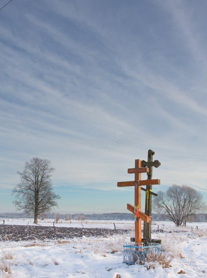 Kors för ortodox kyrka i solnedgång royaltyfri fotografi