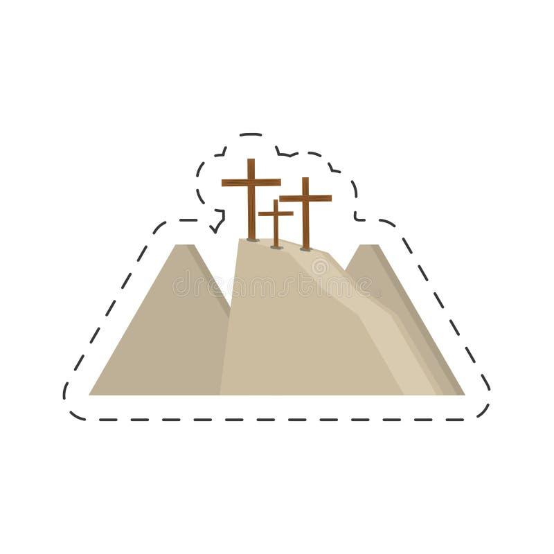 kors för tecknad filmcalvarykulle tre royaltyfri illustrationer