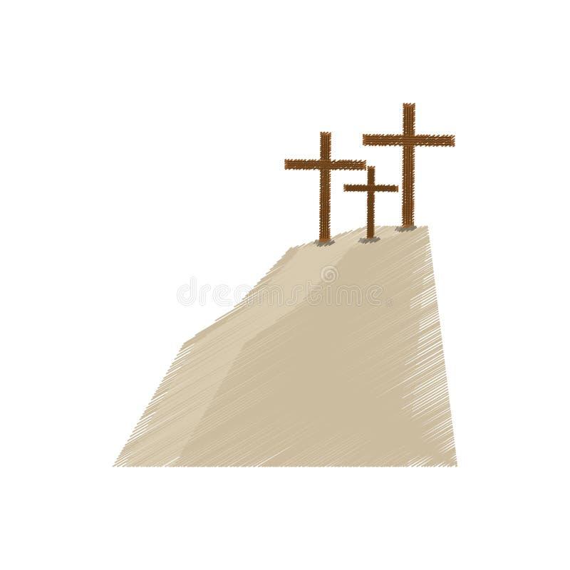 kors för teckningsgolgothakulle tre royaltyfri illustrationer