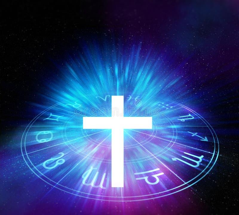 Kors för vitt ljus på sakral geometribeståndsdelbakgrund royaltyfri illustrationer