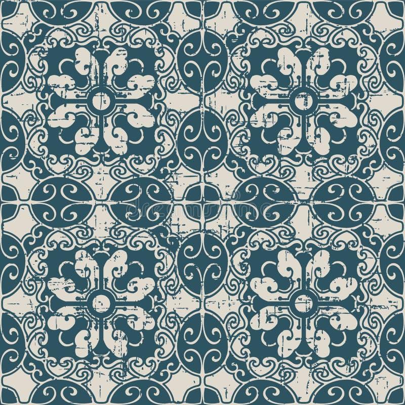 Kors f för polygon för sliten ut antik sömlös bakgrundsspiral ovalt vektor illustrationer