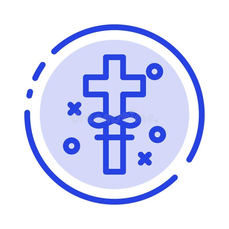 Kors ferier, helgedom, blå prickig linje linje symbol för påsk royaltyfri illustrationer