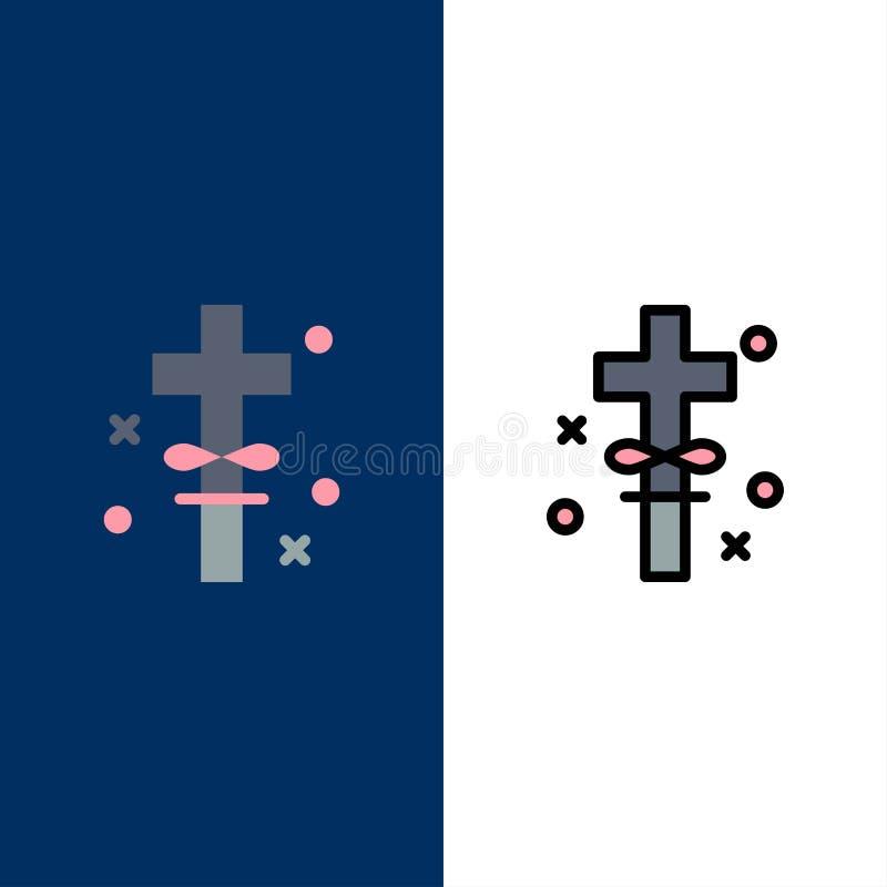 Kors ferier, helgedom, påsksymboler Lägenheten och linjen fylld symbol ställde in blå bakgrund för vektorn royaltyfri illustrationer