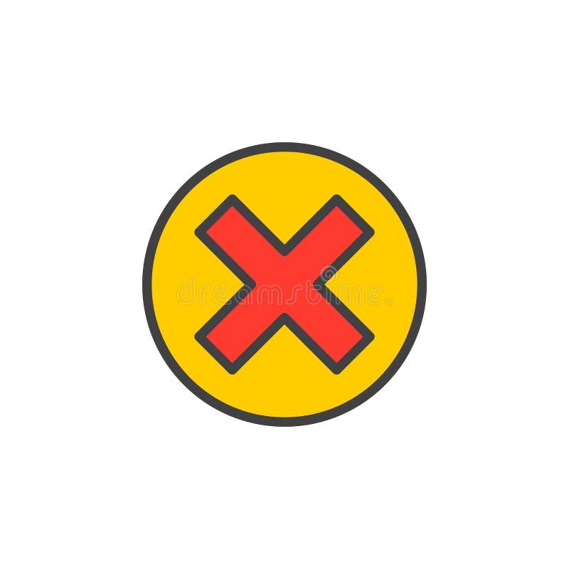 Kors i cirkellinjen symbol, fyllt översiktsvektortecken, linjär färgrik pictogram som isoleras på vit royaltyfri illustrationer