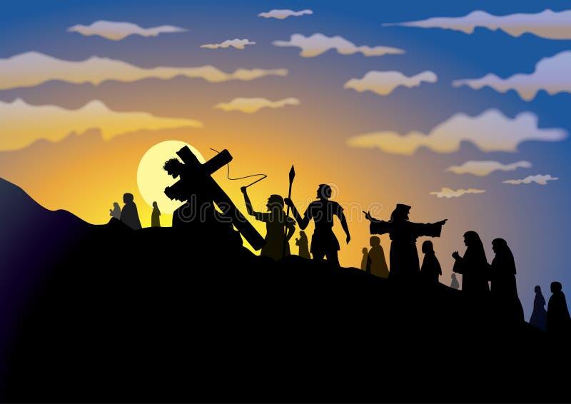 kors långt royaltyfri illustrationer