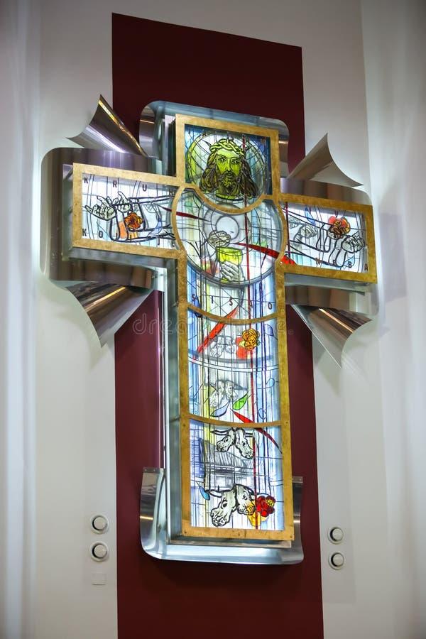 Kors med Jesus Christ royaltyfria bilder